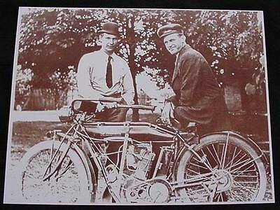 Two Men With Motorcycle Vintage Motor Bike Vintage Sepia Card Stock Photo 1910s