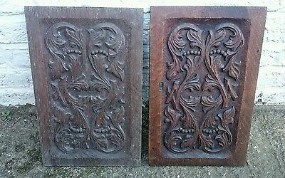 Pair Of Antique Carved Oak Panels