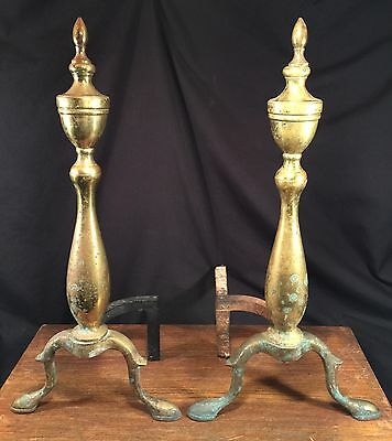 Vintage Andirons Mid Century Fireplace Log Holder Brass & Iron PRIORITY MAIL