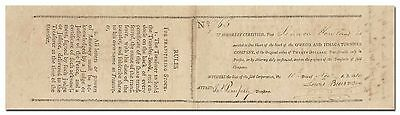 Owego and Ithaca Turnpike Company Stock Certificate (Issued 1810)