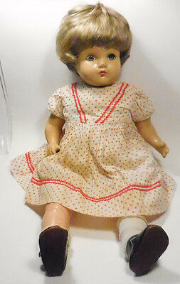 """VINTAGE """"HORSMAN A 21"""" DOLL-COMPOSITION w/CLOTH BODY + NICE WIG ADDED-AS IS"""