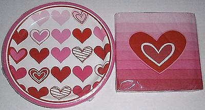 VALENTINE'S DAY Paper Plates and Luncheon Napkins  OMBRE HEARTS
