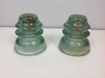 Vintage blue green dominion 42 d glass insulator lot of 2