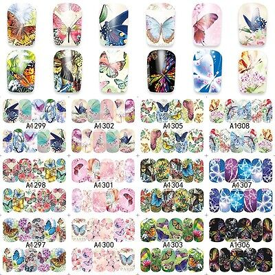 Nail Art Water Decals Transfers Stickers Butterflies Butterfly Gel Polish