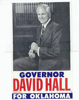David Hall for governor 1970 Oklahoma OK poster