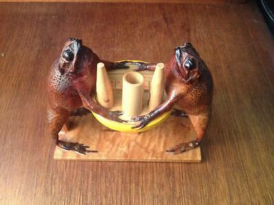 Mexican taxidermy folk art Frogs gambling and drinking corona's