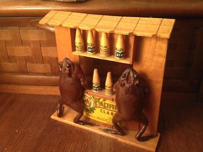 Mexican taxidermy folk art Frogs drinking corona's at the bar