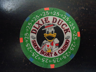 VHTF Dixie Duck Showboat and Casino Hat and Cane Poker Chip