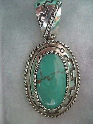 """Carolyn Pollack Relioa 925Sterling Large Green Turquoise Pendant 2.5""""by 1.25""""Box"""