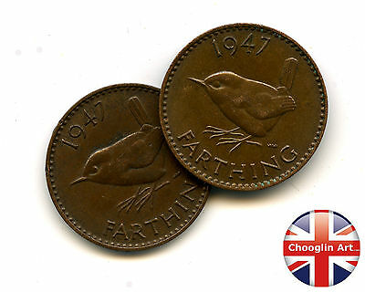 A pair of 1947 British Bronze GEORGE VI FARTHING Coins