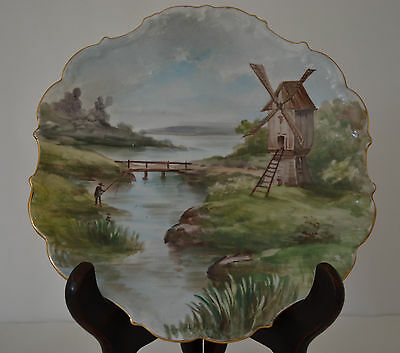 Limoges Hand Painted Plate With Windmill,water
