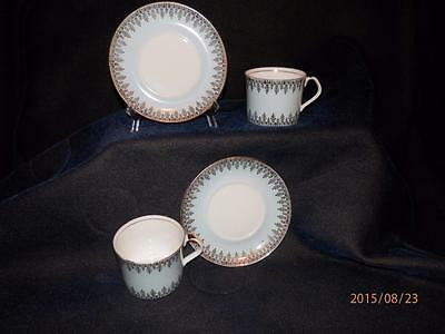 Set Of 2 Matching -Queen Anne Cup & Saucer - Bone China - Gold On Pastel Blue