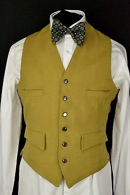 "Wool Front Waistcoat size 38"" Doeskin Waistcoat Green-Gold Cadmium Chartreuse"