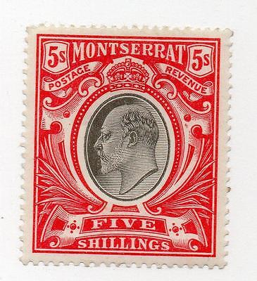 Montserrat 1903  KEVII 5s black & Scarlet  MM. SG 23. Sc 21. CAT. £150