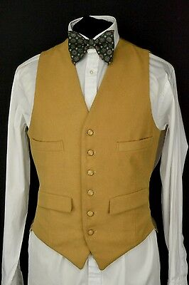 "Wool Front Waistcoat size 38"" Doeskin Waistcoat Gold West of England Cloth"