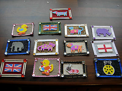 1/12Th Scale Dolls House Set Of 2  Door Mat Handmade Cats Dogs Union Jack New