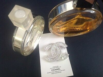 New Auth Chanel coco perfume adorable Vip gift sparkle brooch pin.