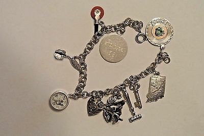 Vintage Charm Bracelet with Unique Beautiful Sterling Silver Charms Ink Well