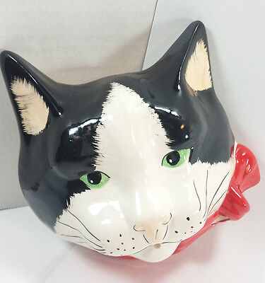 Babbacome Ceramic Cat Face Stringholder Hand Decorated England