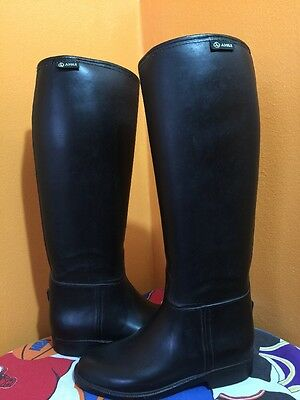 Aigle France Coupe Saumur Black Riding Equestrian Boots 38 Sz 7 Knee High USED