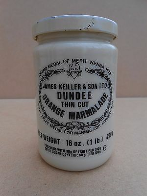 Vintage KEILLERS DUNDEE MARMALADE Pot With Original Printed Lid & rear writing