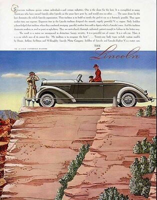 LINCOLN CONVERTIBLE Car Auto Ad 1937 LE BARON Roadster Sight Seeing Tour