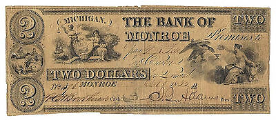 1835 The Bank of Monroe, Michigan - Two Dollar Obsolete Note