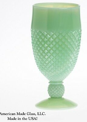 Jade Jadite Jadeite Milk Green Glass Addison Pattern Footed Goblet - Mosser USA