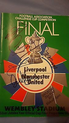 Liverpool Vs. Manchester United Programme FA Cup Final 1977 Signed by 5 Players