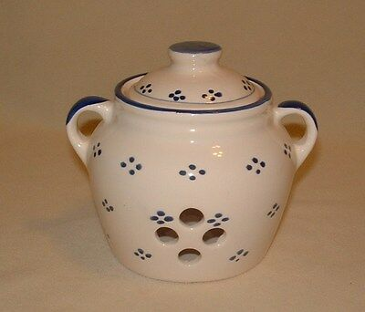 Handpainted Garlic Pot, Earthenware Jug With Cover, Cream & Country Blue Design