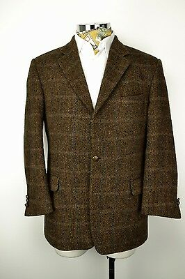 "44"" Short 3 Button Harris Tweed Jacket Herringbone Brown Blue Check"