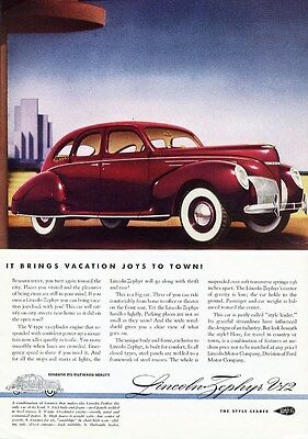 Red 1939 LINCOLN ZEPHYR V-12 Sedan 4 Door with With Sidewall Tires
