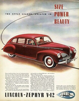 1939 Red LINCOLN ZEPHYR V-12 Auto Car Ad 4 Door Sedan White Sidewall Tires