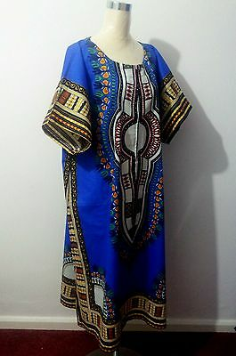 Dashiki Hippie Long Maxi Ethnic Vintage Cotton African Kaftans Tribal Mexican UK