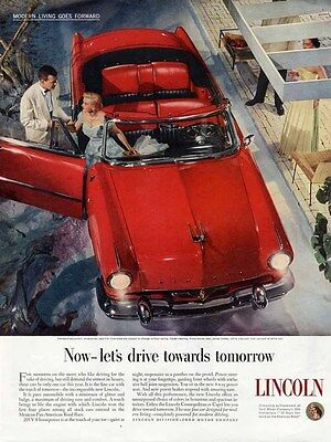 Pretty Red LINCOLN Auto Car Ad 1953 CONVERTIBLE with Red Black Interior