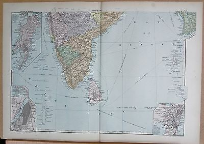 1890 Large Victorian Map - India South, Inset Madras, Calcutta Bombay