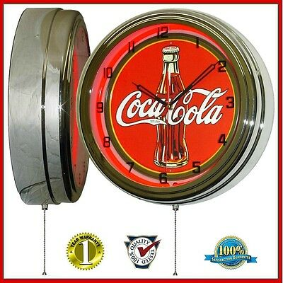 Coca-Cola Classic 1930's Bottle Sign Red Neon Lighted Wall Clock Chrome