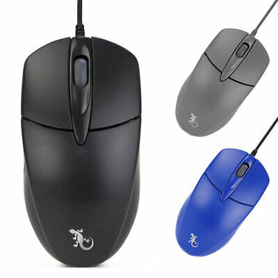 Gecko 3 Button USB Wired Optical Mouse for Laptop/PC/Macbook/Mac Home/Office