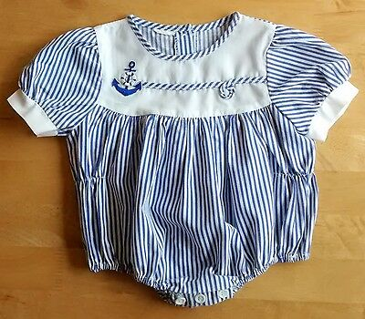 Vintage Baby Romper 1970s 0-6 month Striped Blue Sailor babygrow playsuit