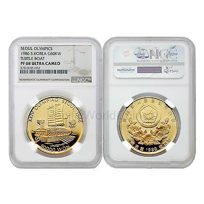 South Korea 1986 50,000 Won Olympics - Turtle Boat Gold Coin NGC PF 68 ULTRA CAM