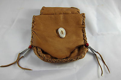 Handmade Medicine Bag Pouch Purse~Genuine Horn Button~With Belt Loop~New~