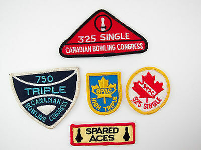 5 Vintage Canadian Bowling Patches