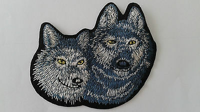 """1 pc. FREE US SHPG WOLF SIBLING EMB PATCH 4X3-1/2"""" SEW/IRON ON"""