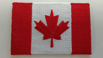 "1 pc. CANADIAN FLAG EMB PATCH, IRON-ON 3"" x 2``"