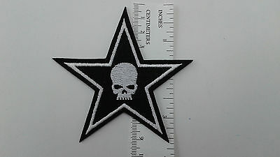 "1 pc SKULL PENTAGRAM BIKER EMB.PATCH 3-3/8"" SEW/IRON ON"