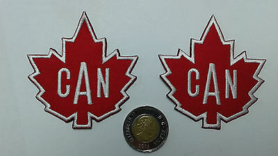 """2 pcs -IRON-ON SMALL CANADIAN MAPLE LEAF EMBRO. PATCH 2-3/4X2-7/8"""""""