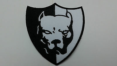 "1 pc LARGE SIZE PIT BULL BIKER EMB.PATCH 3-1/4X3"" SEW/IRON-ON"