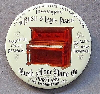 SCARCE circa 1910 BUSH & LANE PIANO CO. Portland OREGON pocket mirror *