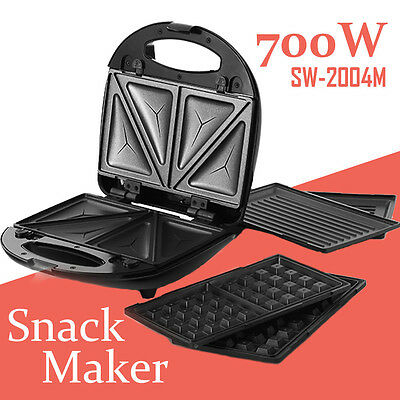 Snack Sandwich Waffle Doughnut Maker Electrical Grill Non Stick plate 3-in-1