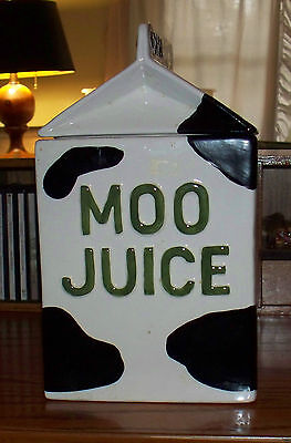 MOO JUICE - CERAMIC COOKIE JAR. Marked: CHINA impressed. Perf. Condition.